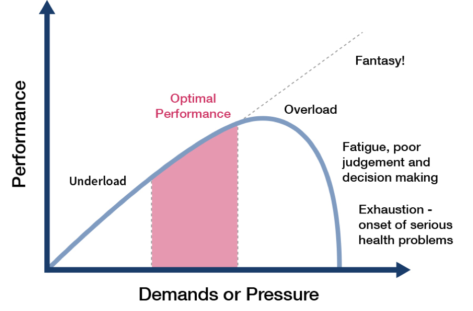 A pressure bell curve, showing how our performance dips under too much pressure, so good performance management needs to offer support.